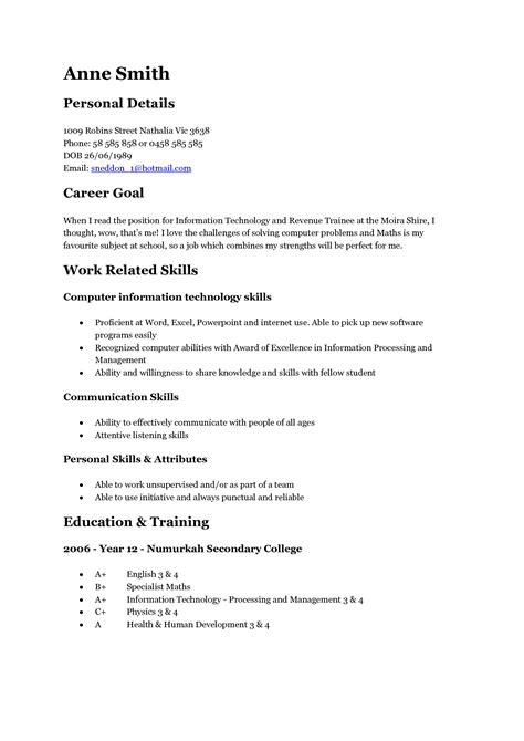 Exles Of Simple Resumes by 14509 Simple Resume Exles For Teenagers Resume