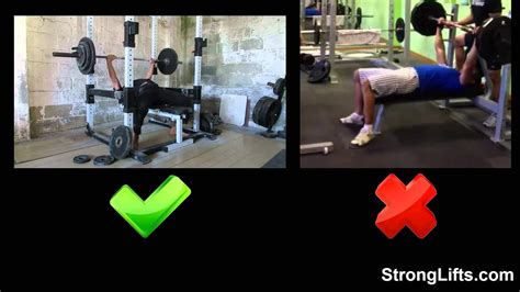 bench press correct form how to bench press with proper form stronglifts 5x5 youtube