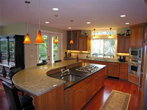 kitchens with different colored islands island w two different color granite countertops house