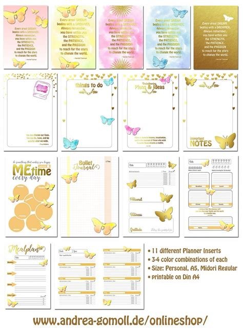 free printable planner filofax printable planner inserts xxl set by andrea gomoll