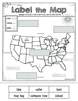 printable usa map for kindergarten mapping label it first grade and kindergarten social