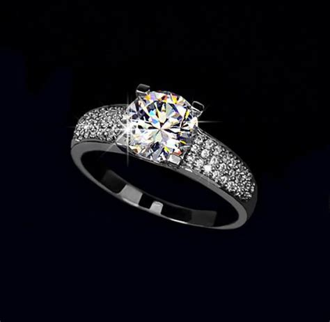 2ct cut cubic zirconia 3 row micro pave engagement
