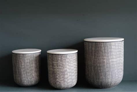 ceramic black  white storage jars   forest