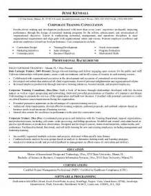 corporate trainer resume exle corporate consultant resume free sle