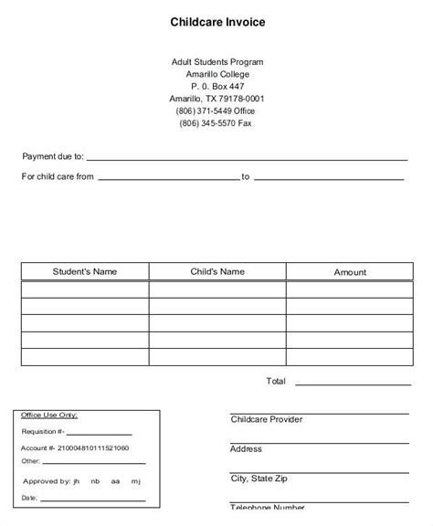 printable daycare invoice daycare invoice template home daycare daycare invoice form