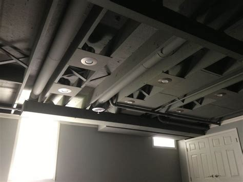 Exposed Ceiling Lighting Pot Lights On Exposed Painted Ceiling Kickass Basement