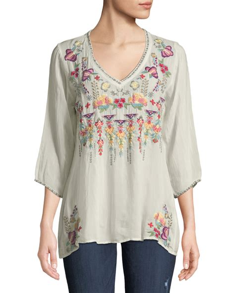 3 4 Sleeve Embroidered Blouse johnny was nixie v neck 3 4 sleeve floral embroidered