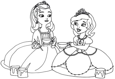 sofia the first coloring pages tea cups party sofia the