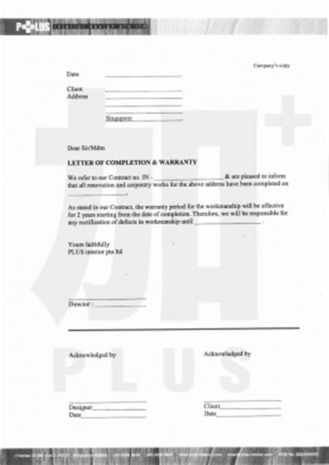 Warranty Letter For Work Done Renovation Documents Detailed Paperwork By Plus Interior Design Vincent Interior