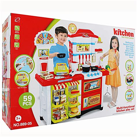 Mainan Anak Kitchen Set Pizza And Cake Muffin Playset 6680 jual kitchen set fast food center mainan anak edukasi bermain memasak griya permainan anak