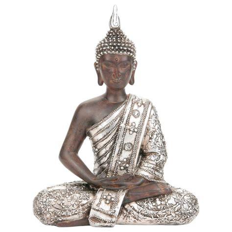 statue bouddha argent 28cm