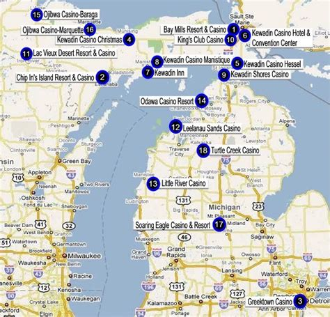 indian casinos in map michigan gaming directory