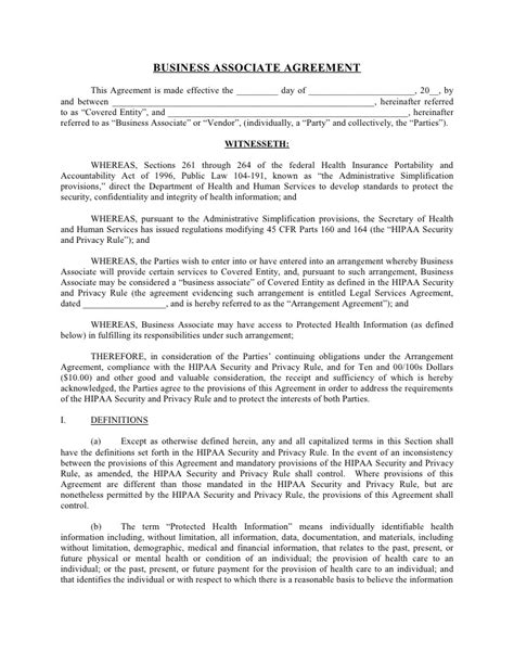 Agreement Letter Format Business Sle Business Associate Agreement