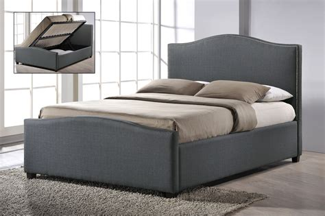 Ottoman Style Bed Chrome Studded Grey Fabric Side Ottoman Style Bed Frame 4ft 6 Quot Free Next Day Delivery