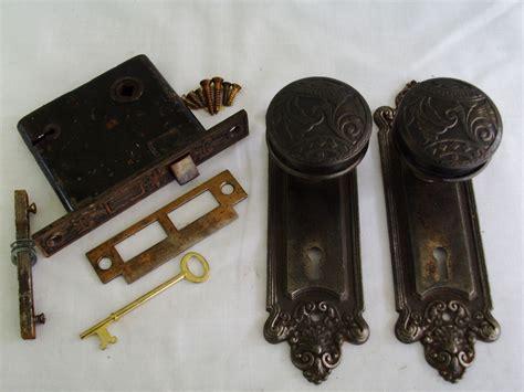 antique cast steel sargent door knob set mortise lock key