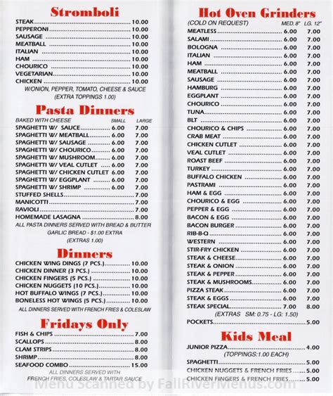 Fall River House Of Pizza Fall River Restaurants