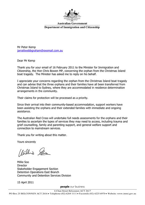 Support Letter Australian Visa 2011 04 15 Update Australian Minister For Immigration And Citizenship Responds To Open Letter