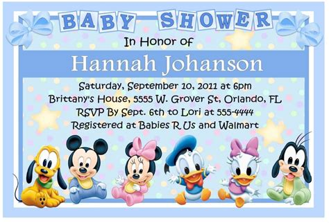 free mickey mouse baby shower invitation templates baby mickey disney babies baby shower invitations ebay