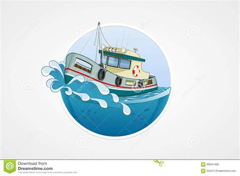 deep sea fishing boat vector moving fishing boat deep sea with wave round vector