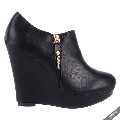 womens wedge low cut ankle boots platform zip high