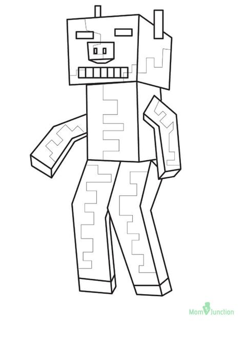 minecraft coloring pages zombie pigman coloring pages