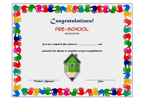 preschool graduation certificate template free printable preschool graduation certificate templates