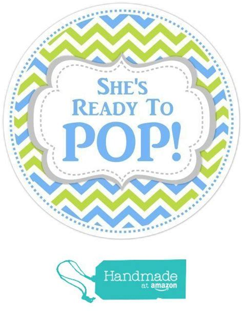 Pop Nosh Baby Blues by 36 Baby Shower Labels She S Ready To Pop Stickers Blue