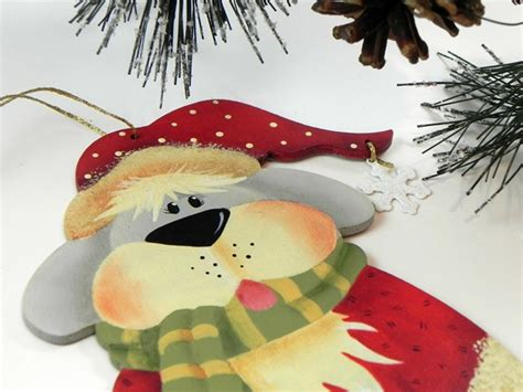 hand painted dog christmas ornament via tole painting diva
