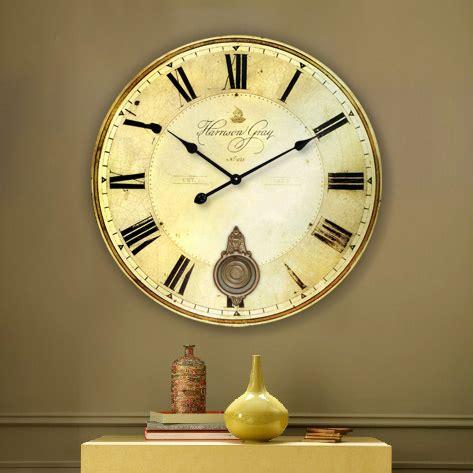 wholesale 34cm vintage silent round large wood kitchen wall clock wholesale home decor large wall clock 60cm 34cm antique