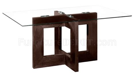 Dining Room Table Glass Top Wood Base Rectangular Glass Top Modern Dining Table With Wooden Base