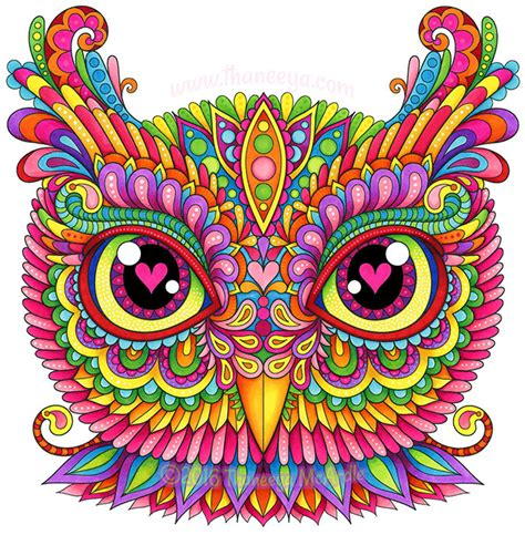 colorful owl colorful owl by thaneeya mcardle thaneeya