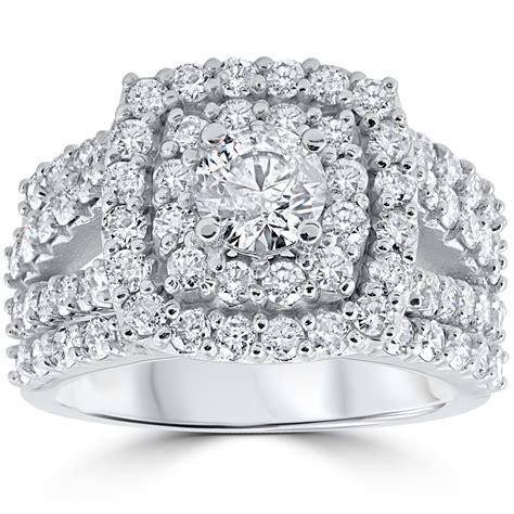 halo wedding ring set 3 ct engagement wedding cushion halo trio