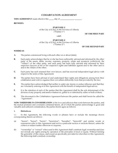 common separation agreement template bc alberta cohabitation agreement forms and business