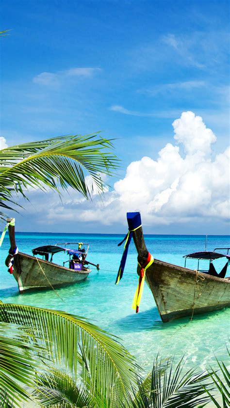 wallpaper tropical beach boats island coconut trees
