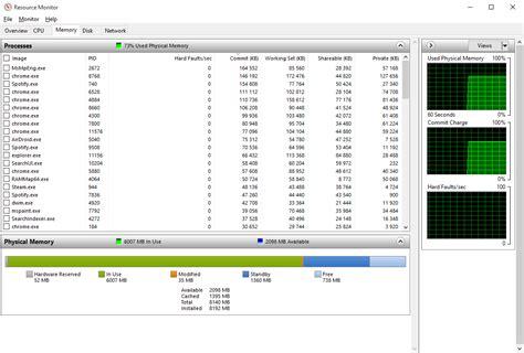 check ram usage windows 10 high memory usage unknown reason user