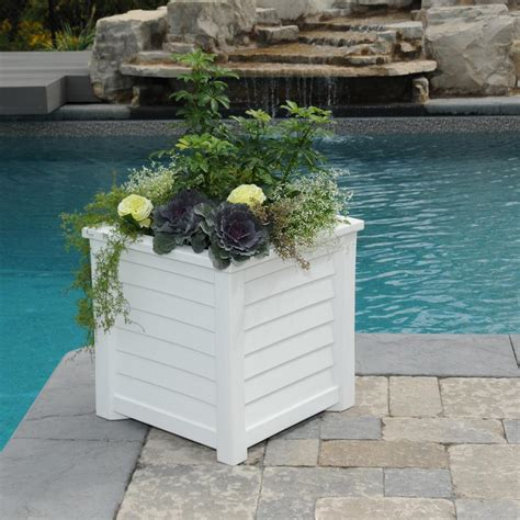 mayne lakeland 20 in square white plastic planter 5867 w