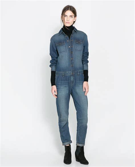 Zara Denim zara denim jumpsuit in blue lyst