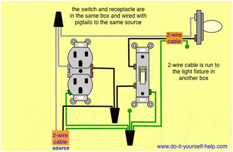 combination switch receptacle wiring diagram for light and