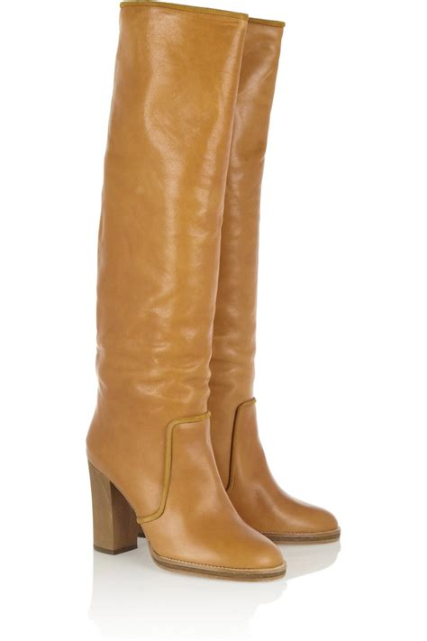 70s boots marant 70s leather knee boots in brown lyst