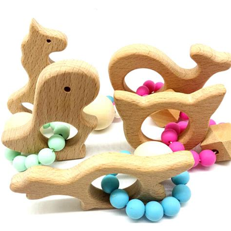 Baby Teether Lovely Animal Shapes wooden baby bracelet animal shaped jewelry teething for baby organic wood silicone baby