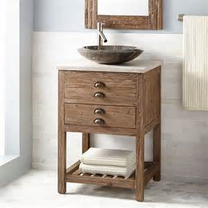 Bathroom Cabinets Wood 24 Quot Benoist Reclaimed Wood Vessel Sink Vanity Pine Bathroom