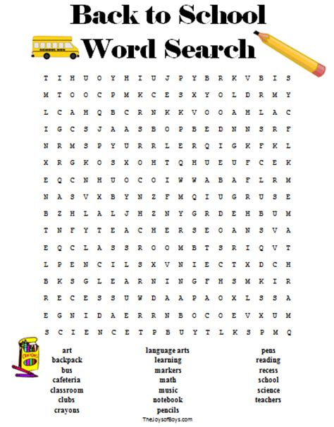 printable word search about school back to school word search