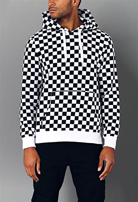 black and white pattern hoodie 21men bold checkered hoodie in black for men black white