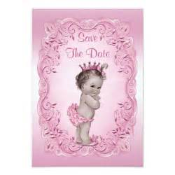 pink vintage princess save the date baby shower 3 5 quot x 5 quot invitation card zazzle