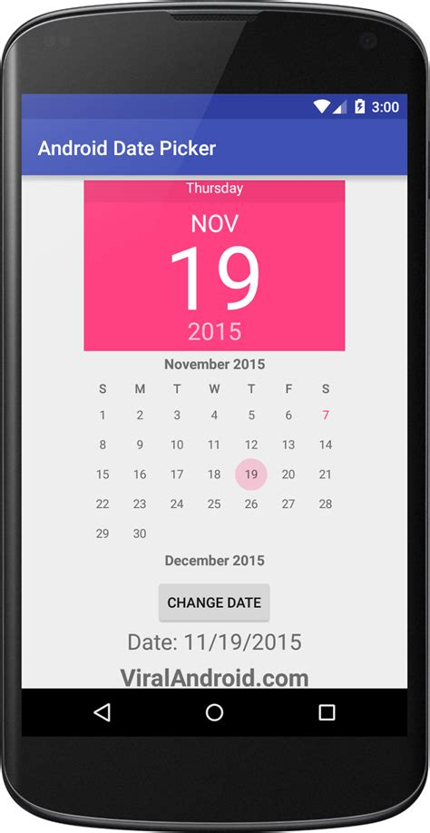 android date picker android date picker exle viral android tutorials exles ux ui design