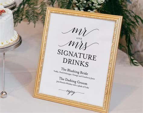 signature drinks printable signature drinks sign