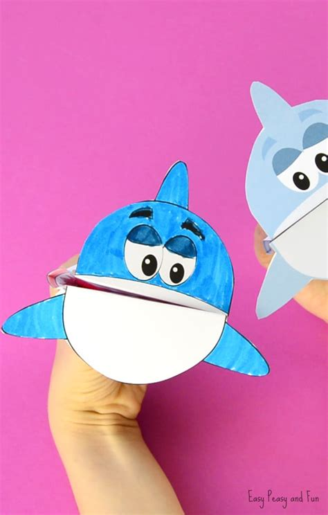 Paper Puppet Crafts - printable shark puppet easy peasy and
