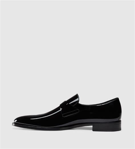 black patent leather loafer lyst gucci patent leather loafer in black for