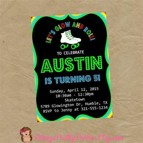 neon glow roller skating birthday party invite invitation
