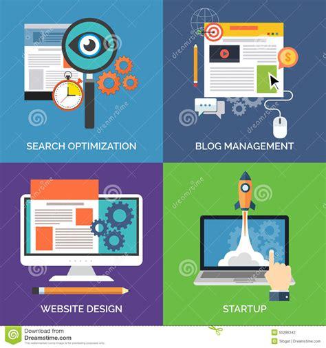 design management blog set of flat design concept icons for business stock